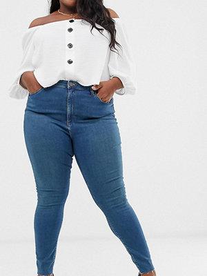 ASOS Curve Ridley Skinny jeans med hög midja i sliten blåfärg Grönblå