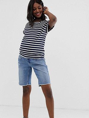 Bandia Mammakläder shorts i longline-modell med råskuren fåll och avtagbart band Ljus vintagetvätt