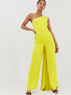 Yaura Limegrön one shoulder-jumpsuit med vida ben och släp Lime