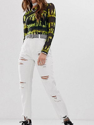 One Above Another Mom jeans med extrema revor Vit denim