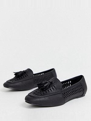 New Look Svarta vävda loafers i PU och wide fit