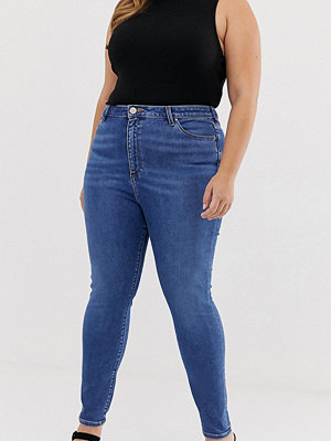 ASOS Curve Ridley Mellanblå skinny jeans med hög midja Mellanblå färg