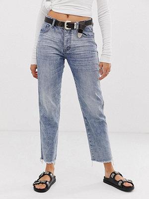 One Teaspoon Truckers Raka jeans med fransig fåll Rocky