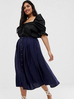 ASOS Curve Plisserad midikjol med knappar framtill och kjol med volym