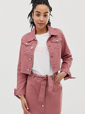 Urban Bliss A-linjeformad minikjol i denim med knytning i midjan Urtvättad rosa