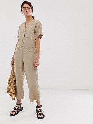 Monki Beige jeansoverall i ekologisk bomull Beige