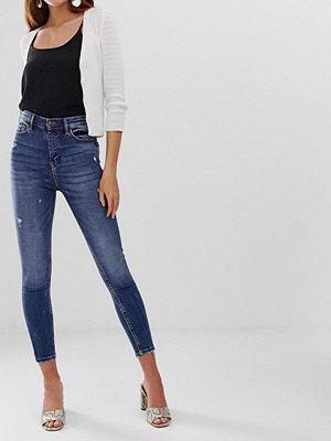Stradivarius Mellanblå skinny jeans med extra hög midja