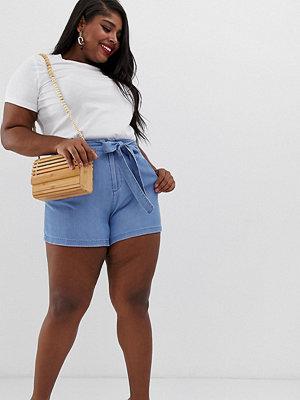 Vero Moda Curve Shorts i chambray-tyg med knytning i midjan Ljusblå demin