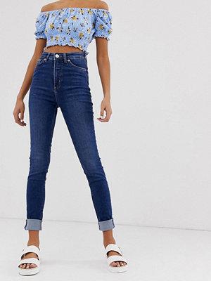 Monki Oki Mellanblå skinny jeans i ekologisk bomull med hög midja Ny mellanblå