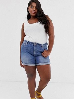 ASOS Curve Ritson Vintageblå jeansshorts i mom-modell Vintage-blå