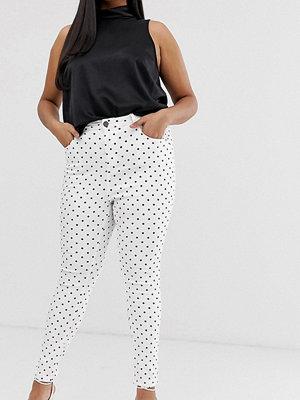 Simply Be Chloe Vit och svartprickiga skinny jeans med hög midja