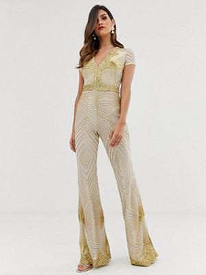 Goddiva Vit och guldfärgad jumpsuit med djup urringning
