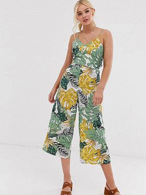 Qed London Palmmönstrad culotte-jumpsuit
