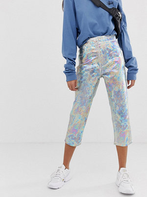 ASOS DESIGN Farleigh Vita slim mom jeans med ankellånga ben