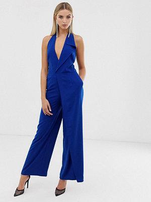 Lavish Alice Jumpsuit med halterneck och oversize-krage Kobaltblå