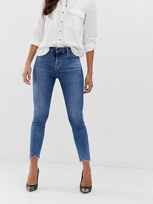 J Brand Alana Ankellånga skinny jeans i ekologisk bomull med hög midja och råkant Epsilon