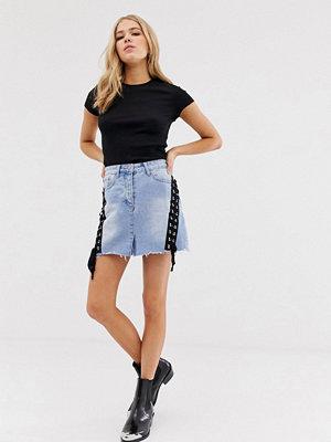 Glamorous Jeansskjorta med snörningsdetalj Ljusblå