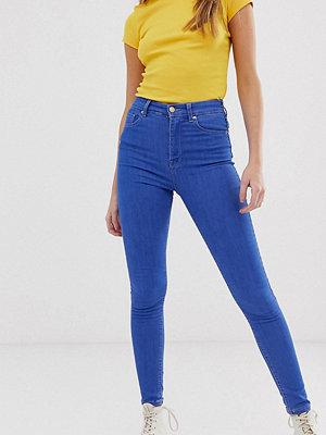Pull&Bear Blå skinny jeans med hög midja Blåaktig
