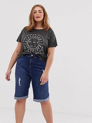 New Look Plus New Look Curve Blå knälånga jeansshorts
