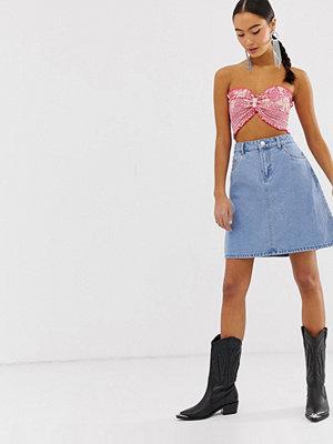 Kjolar - Only A-linjeformad jeanskjol i minimodell Ljusblå