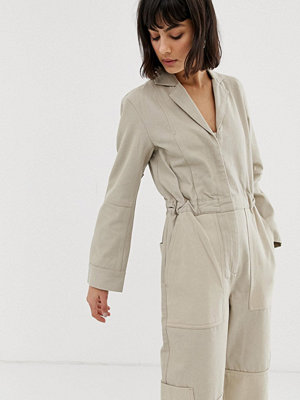 Weekday Recycled edition Beige jumpsuit i cargo-stil Arena beige