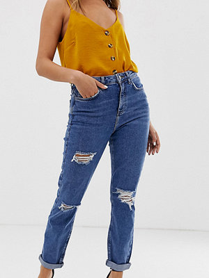 New Look Mom jeans med slitningar Mellanblå