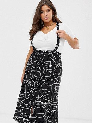 ASOS Curve Abstrakt mönstrad kjol i förklädesmodell med knappar framtill Mono abstract