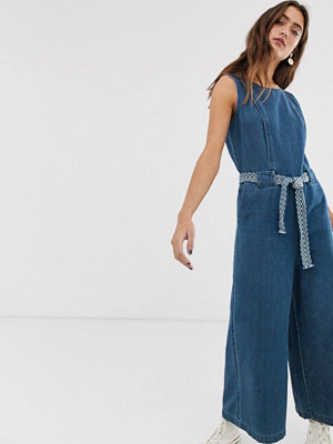 Only Jumpsuit i denim med ankellånga ben Mörkblå denim