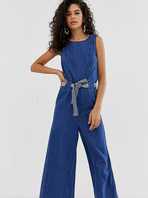 Only Tall Jumpsuit i denim med ankellånga ben