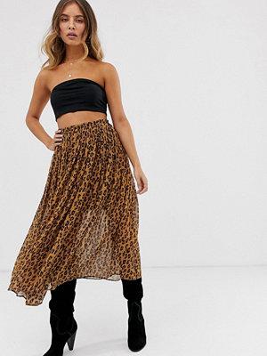 Free People Lydia Leopardmönstrad plisserad kjol Brun kombo