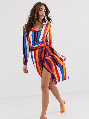 Never Fully Dressed Flerfärgad omlottkjol i midilängd med kontrasterande ränder