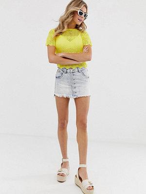 Glamorous Minikjol i denim med knappar Ljusblå