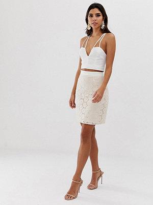 Vesper Kort bodycon-kjol i jacquardtyg Ivory/ nude