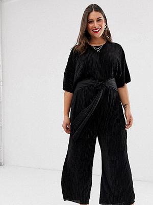 ASOS Curve Plisserad culotte-jumpsuit med knytning framtill