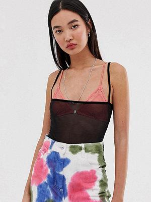 Collusion Bodysuit i mesh med fyrkantig halsringning
