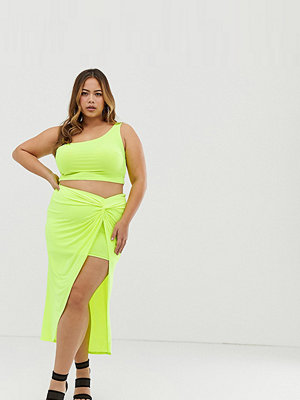 Kjolar - Club L London Plus Club L Plus Kjol med knutdetalj Neongrön