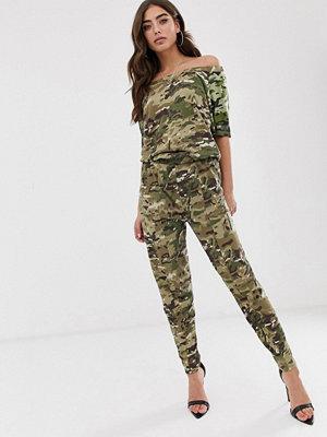 G-Star Namic Kamoflagemönstrad jumpsuit i ekologisk bomull med bara axlar Haki/army green ao