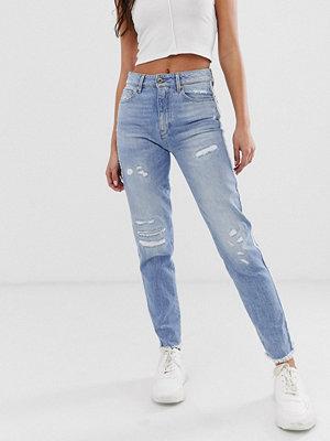 G-Star 3301 Fransiga ankellånga jeans med hög midja Ljus vintage med slitningar