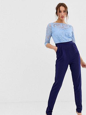Paper Dolls Tall Blå 2 i 1 jumpsuit i spets Navy/ blue