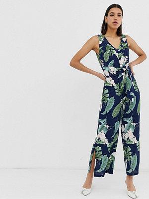 Ax Paris Jumpsuit i culotte-modell med tropiskt mönster