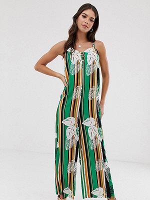 Glamorous Tall Randig jumpsuit med smala axelband och palmmönster Palmmönstrad randning