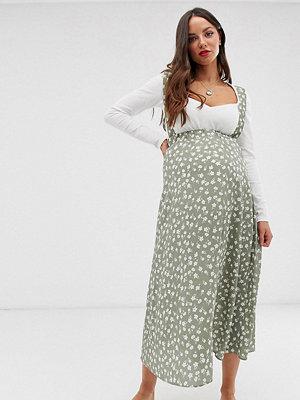 ASOS Maternity Blommig midikjol i förklädesmodell Ljusgrönt blommönster