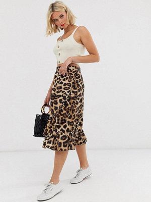 Pieces Leopardmönstrad midikjol Leopard