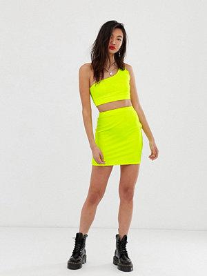 30d9dd7d95e8 ... ASOS DESIGN Kort bodycon-kjol i neon Neongul