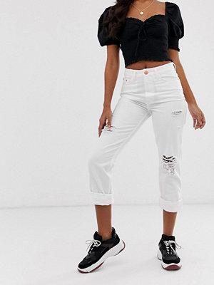 River Island Vita mom jeans med revor