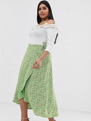 Fashion Union Plus Småblommig midikjol i omlottmodell Grönblommigt