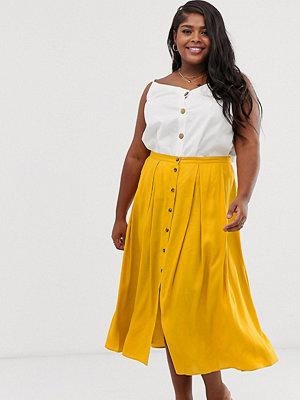 ASOS Curve Plisserad midikjol med knappar framtill och kjol med volym Ockra