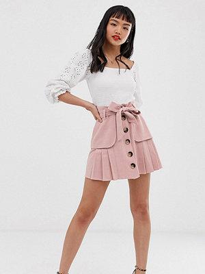 ASOS Petite Plisserad minikjol i linne med knappar framtill och fickor Ljusrosa