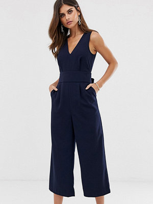 Jumpsuits & playsuits - Warehouse Mörkblå jumpsuit med bar rygg