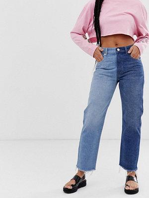 ASOS DESIGN Florence Jeans med raka ben och tvåtonad tvätt Vintage-blå
